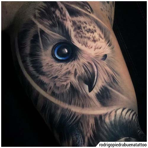 tatuaje realista del búho