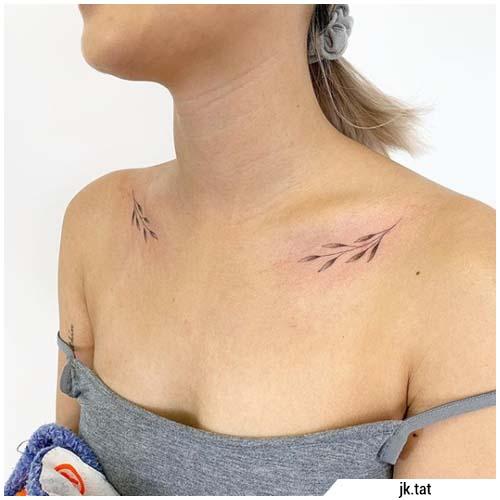 tatuajes pequeñas clavículas de plantas