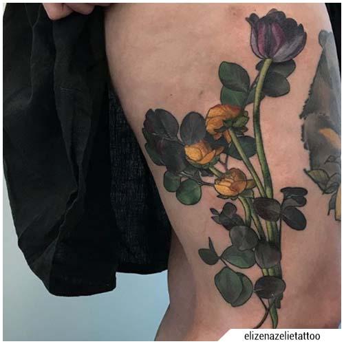 nuevo tatuaje de tulipán de la escuela