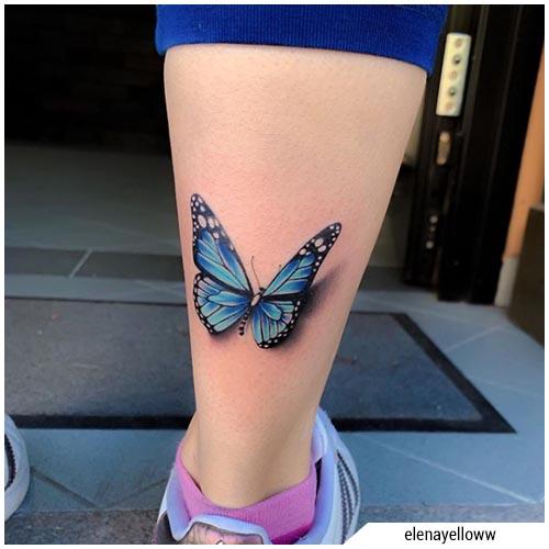 tatuaggi donna farfalla polpaccio