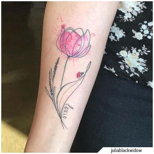 tatuaje de tulipán acuarela