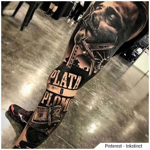 tatuaggi uomo chicano gamba