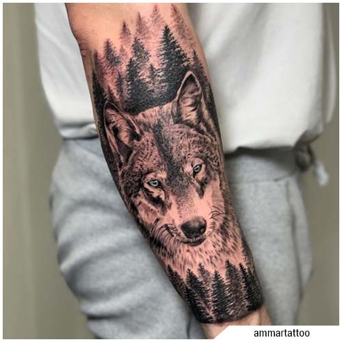 tatuaggi uomo lupo