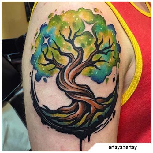 tatuaggio albero della vita verde pittura