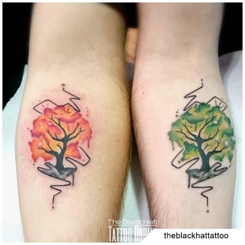 tatuaggio albero della vita coppia