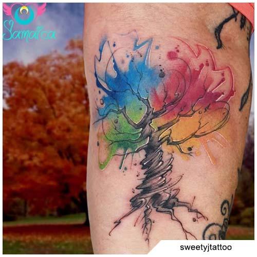 tatuaggio albero della vita watercolor