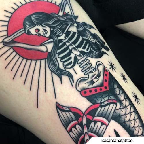 tatuaggio sirena creepy